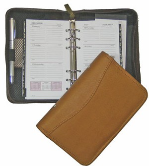"6-Ring Refill Dimensions: 3-5/8"" x 6-3/4"" Zip-around Leather Agenda"