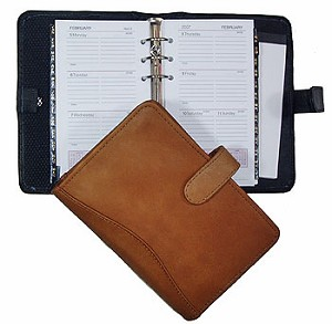 "6-Ring Refill Dimensions: 3-5/8"" x 6-3/4""  Snap-closed Leather Agenda"