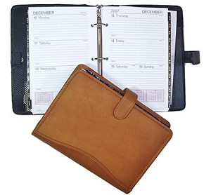 "3-Ring Refill Dimensions: 5-3/8"" x 8-1/2""  Snap-closed Leather Agenda"